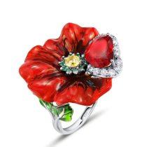 Red Rose Flower Enamel Rings