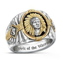 Vintage American Indians Totem Ring SPIRIT OF THE WARRIOR Inscribed To Viking Warrior Gold Rings