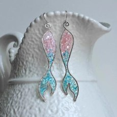 Bohemian Blue Opals Mermaid Tassel Earrings