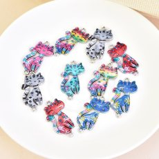 10Pcs Colorful Alloy Cat Beads Connector Charm Fit DIY Jewelry Making