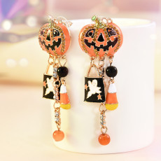 Halloween Party Pumpkin Ghost Pair Ear Stud Dangle Hoop Drop Earrings