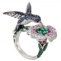 Multicolor Blue Green Crystal Rhinestone Bird Flower Rings