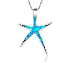 Blue/Red Opal Enamel Starfish Pendant Necklace
