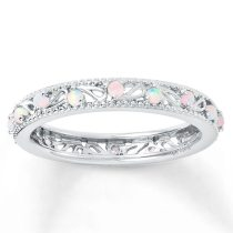 Dainty Round Fire White Opal Finger Rings
