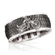 Vintage Stainless Steel Cool Motorcycle Tire Rings