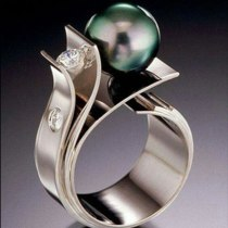 Gray Simulated Pearl  Rhinestone Engagement Ring Boho