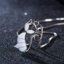 Cat White/Blue Fire Opal Charm Pendant Necklace