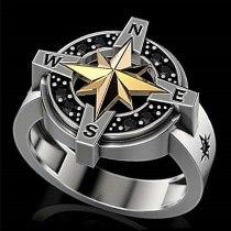 Retro Viking Legend Nautical Cross North Star Ring