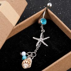 Medical Steel Starfish Conch Dangle Belly Button Ring