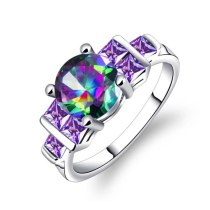 Copper Rainbow Colorful CZ Eternity Silver Color Ring