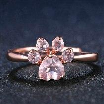 Pink Crystal Rose Gold Cubic Zircon Quartz Bear's Paw Ring