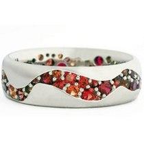 Red Crystal Ring Ocean Surf Silver Color Rings