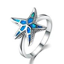 Blue Fire Opal Starfish Rings Hollow Glitter Star