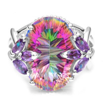 Inlaid Colorful Rainbow Crystal Ring
