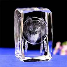 3D Laser Engraved Wolf Crystal Glass