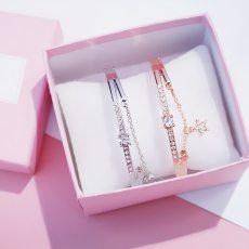 2Pcs/Set Bracelets Sliver Rhinestone Bracelets