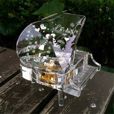 Piano Music Box Crystal Glass