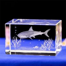 3D Carved Great White Shark Crystal Glass