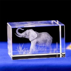 3D Carving Elephant Crystal Glass