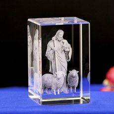 Jesus Shepherd Christian Catholic Statues Crystal Glass