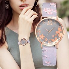 Embossed Flowers Belt Dial Watches