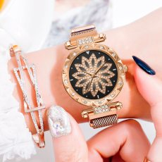 Lucky Flower Geometric Rhinestone Quartz Watches