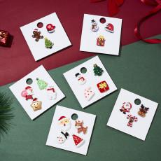 Santa Crutch Elk Snowman Christmas Card Brooch Set