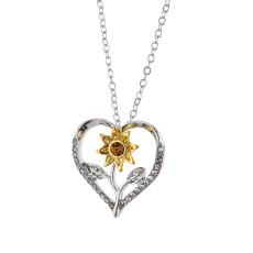 Sunflower Heart Shaped Diamond Necklace