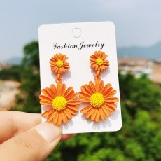 Silver Needle Chrysanthemum Earrings