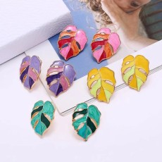 Colorful Leaf Metal Earrings