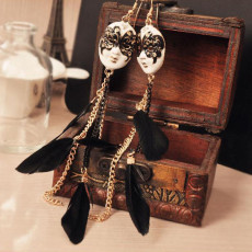Black Mask Feather Earrings