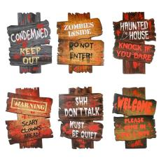 6Pcs Halloween Warning Sign Decor Graveyard Street Signs