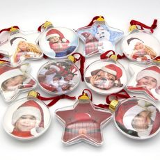 Clear Xmas Tree Hanging Transparent Picture Frame Ornament DIY Five-star Ball