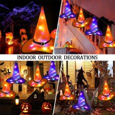 Halloween Decoration LED Lights Witch Hats Outdoor Tree Hanging Ornament