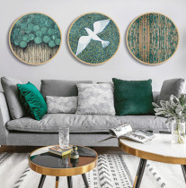 Nordic Round Solid Wood Frame Hanging Green Plant Mural