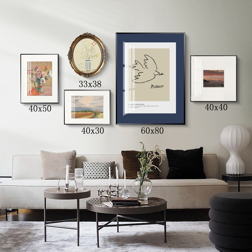 Nordic Retro Living Room Sofa Background Wall Combination Decorative Painting Characters Abstract Restaurant Art Paintings