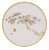 Chinese Style Living Room Painting Round Flower And Bird Painting