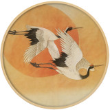 Chinese Decorative Round Frame Solid Wood Painting Flower And Bird Wall Painting
