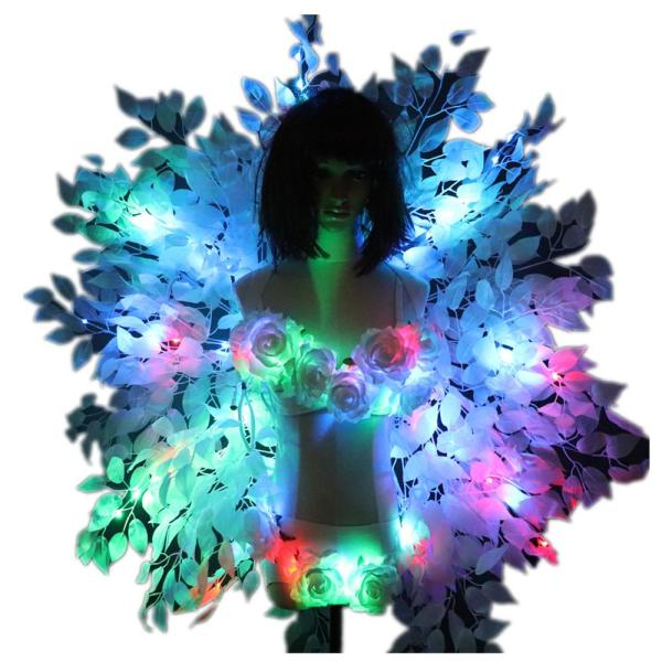 Colorful Back Frame Background Plate Sexy Costumes Women LED Luminous Bra Shorts Sexy Suit
