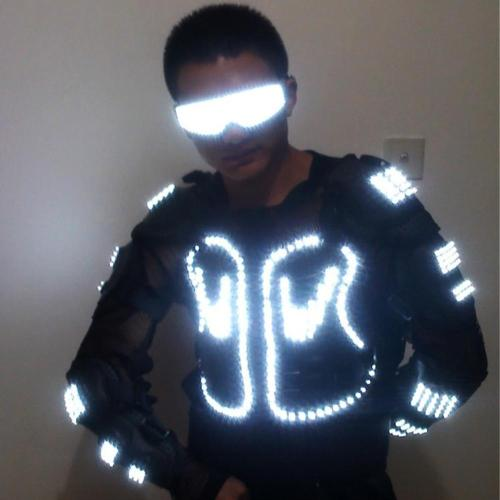 Fashion LED Luminous Robot Suit Growing Light Up Armor Costume with Led Glasses for Night Clubs Party DJ Dance Clothes