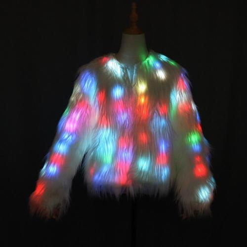 Led Light Shining Faux Fur Coat Decorative Overcoat Dance Christmas Party Jacket for Dancer Singer Star Nightclub