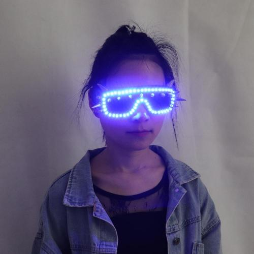 LED Glasses Rivet Punk Glasses Party Supplies Dancing Club Props Stage Costumes Halloween Lighting LED Gloves