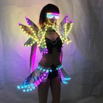 Full Color LED Costumes Colorful Light RGB Women Skirt DJ Bar Wears Led Ballroom Dance Bra Programming Sexy Dress