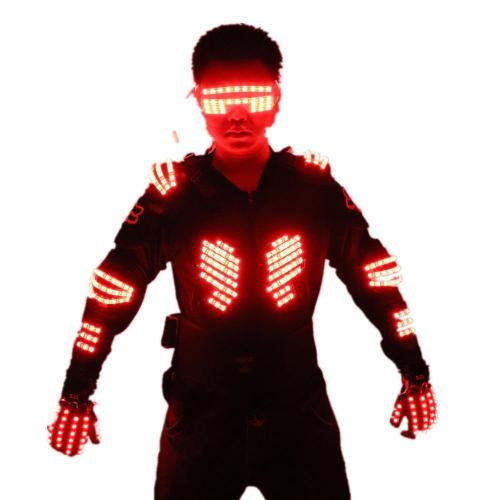 RGB Colorful Light Armor Outfits Glowing Clothe Show Dress Bar DJ MC Performance Robot Men Suit
