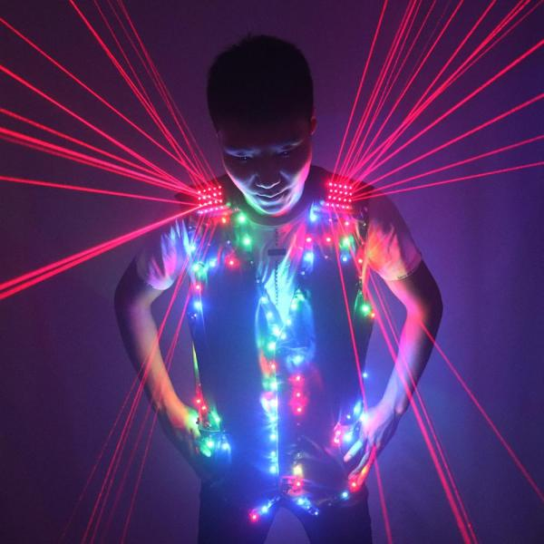 Fashion Red Laser Waistcoat Laserman LED Vest Suits Clothes Stage Costumes For Singer Dancer For Nightclub Performers