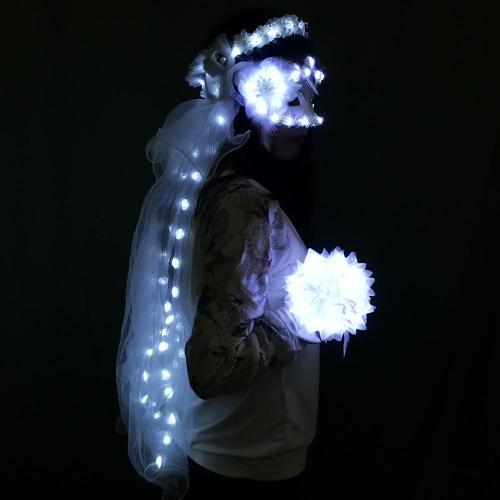 LED Glowing Wreaths Veil Music Festival Party Veil Princess Hair Ornaments