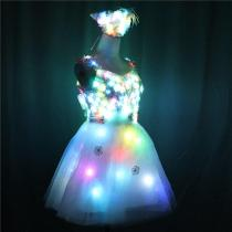 LED Glowing Wedding Dress Clothes Luminous Headwear Short Low Cut Group Skirt Women Ballroom Dance Clothing