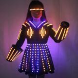 LED Robot Suit Costume Laser Glove Canvas Fashion Glowing Wedding Dress Clothes Luminous Headwear Short Skirt