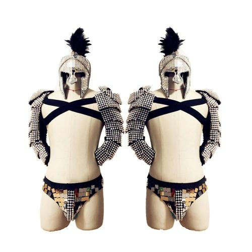 Festival Outfit Men Roman Knights Cosplay Costume GoGo Dancer Costume Party Stage Handmade Mirror Costume Nightclub