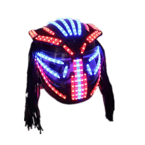 LED Helmet Singer Stage Dress Outfits Armor Glowing Full Face Mask Hat Headwear Bar Show Christmas Ballroom Dance